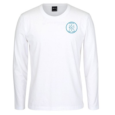 White LS Tee_Blue